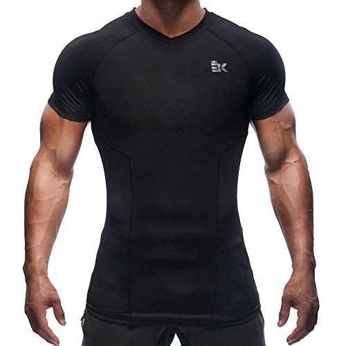 BROKIG Men's Gym Bodybuilding Compression Shirt Training Workout Tops Short Sleeves T Shirts (V-Neck Black, Medium)