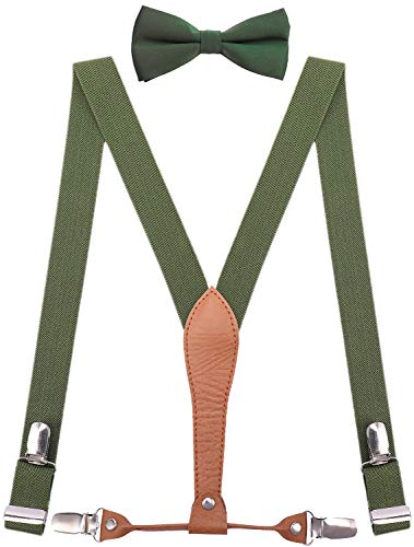 WDSKY Mens Suspenders and Bow Tie with Leather Y Back Elastic 47 Inches Dark Green
