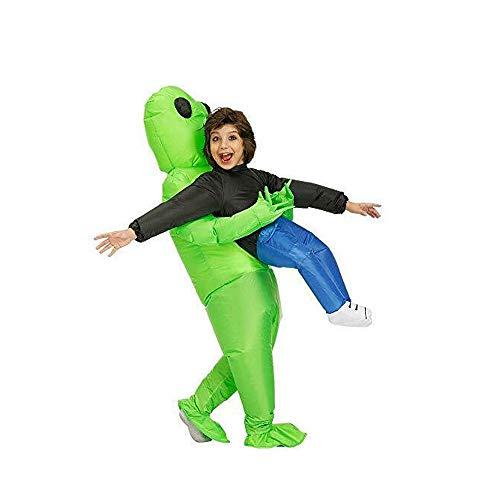 Déguisement Gonflable Alien Costume Gonflable Enfants, Vert ET pour transporter des costumes humains gonflables humoristiques déguisement de Noël Halloween Carnaval, Polyester