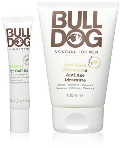 Bulldog Cuidado Facial para Hombres - Pack Duo Cuidado Facial Anti-Edad , Crema Hidratante Anti-Edad 100 ml + Roll On Contorno de Ojos 15 ml