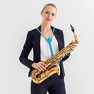 Saxophone Harness Musical Instrument Neck Strap for Saxophones, Horns, Bass Clarinets, Basoons, Oboes-Blue