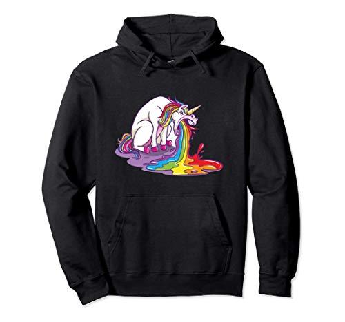 Unicorno che vomita un regalo divertente arcobaleno Felpa con Cappuccio