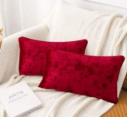 HORIMOTE HOME Pack de 2 fundas de cojín rectangulares de terciopelo aplastado rojo para sofá, silla, cojines decorativos de Navidad, para sala de estar, cama, coche, 30 x 50 cm