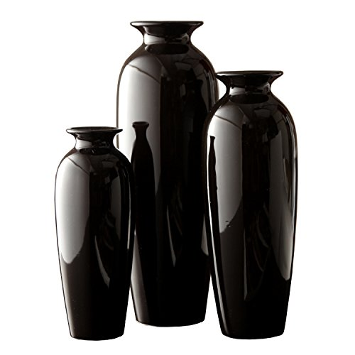 Hosley's Set of 3 Black Ceramic Vases in Gift Box. Ideal Gift for Wedding or Special Occasions for Use in Home Office, Decor, Floor Vases, Spa, Aromatherapy Settings O3
