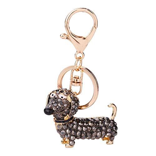 Ogquaton Premium Qualität Frauen Mädchen Bling Hund Schlüsselbund Handtasche Anhänger Auto Dekor Schlüsselanhänger