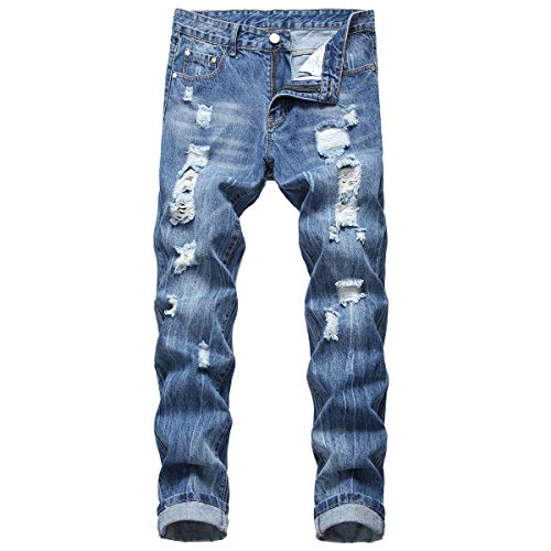 NOVON Men's Distressed Ripped Jeans Casual Biker Straight Leg Pants Slim Fit Ripped Jeans (Blue, 34)