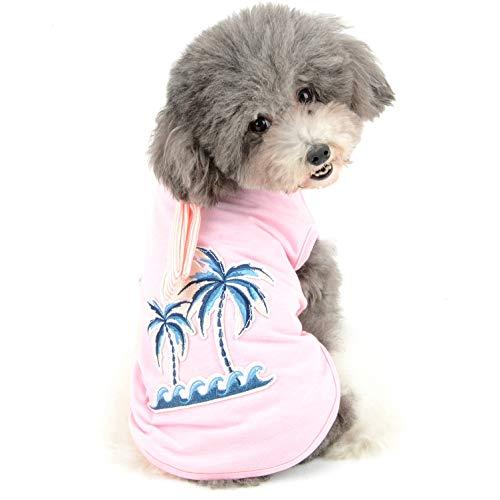 Ranphy Hawaii-Stil Welpenhemd, bequem, weiche Baumwolle, für kleine Hunde, Sommer, Strand, süßes Hunde-Sweatshirt, bestickte Palmenweste mit gestreifter Krawatte