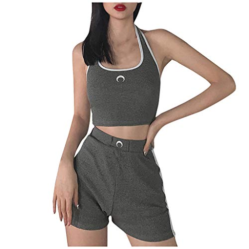 Nyuiuo Señoras Colgantes Cuello Color sólido Bordado de Moda Impreso Chaleco Deportivo Sexy Descubierto Ombligo Tops divididos Pantalones Cortos Traje Casual de Verano