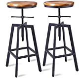 wood and metal kitchen island - Diwhy Industrial Bar Stools,Kitchen Dining Chair,Wood Metal Bar Stool,Adjustable Height Swivel Counter Height Bar Chair,Black,Fully Welded Set of 2