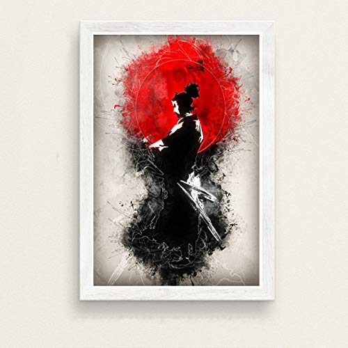 ZWXDMY Leinwand Bild,Japanische Samurai Schwertkämpfer Bushido Abstrakte Ukiyo-E, Home Decor Druck Leinwand, Wand Kunst Malen Einrichtung, Kunst Wandbild Poster Bild, 60 × 80 cm