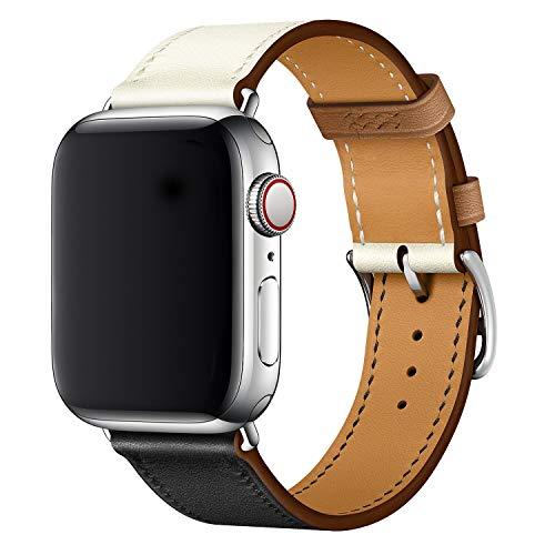 XCool Compatible con Correa Apple Watch 38mm 40mm, Cuero Amarillo para Hombres Mujer para iwatch SE Serie 6 Serie 5 Serie 4 Serie 3 (38mm/40mm, En blanco y negro)
