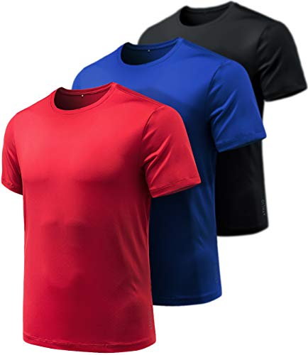 ATHLIO Men's Workout Running Shirts, Sun Protection Quick Dry Athletic Shirts, Short Sleeve Gym T-Shirts, 3pack Hyper Dri(cts10) - Black/Blue/Red, Small
