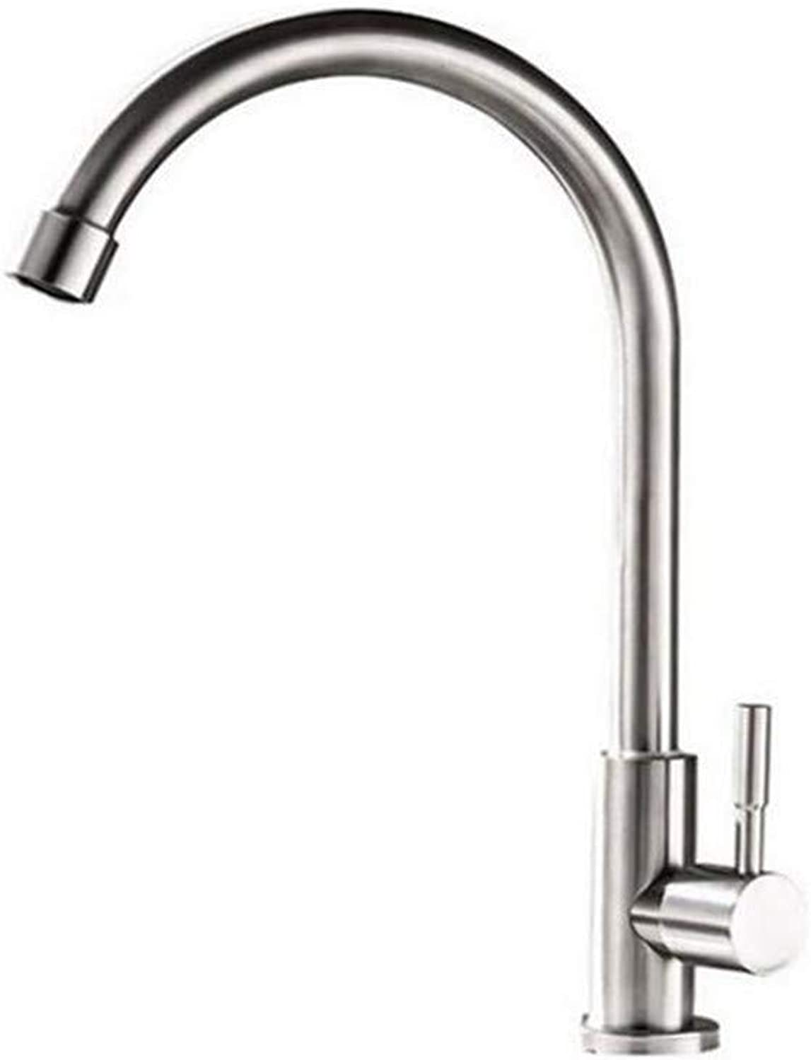 Vintage Chrome Brass Kitchen Kitchen Single Cold Water Faucet Washing Basin redatable greenical Single Balcony Stainless Steel Washing Pool Faucet
