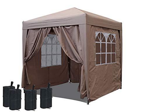 QUICK STAR Pop-Up-Pavillon 2 x 2 m Beige mit Fußbeschwerer und mit 4 Easy-Klett Seitenwänden mit 2 Reißverschlüssen