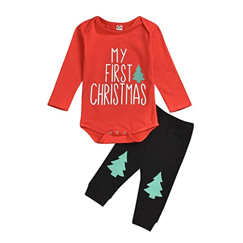 Cuteelf Kinder Langarm Weihnachten Cartoon Brief gedruckt Lace + Pants Set Baby Weihnachten Brief Cartoon Overall Weihnachtskarte Weihnachten Print Hose