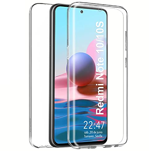 PLANETMOVIL Funda 360 para Xiaomi Redmi Note 10 / 10S (6,43 Pulgadas) Carcasa Doble Cara Delantera + Trasera TPU Rigido Dos Partes Máxima Visión Transparente