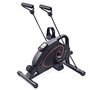 MARNUR Mini Exercise Bike Under Desk Bikes Pedal Exerciser Home Office Portable Stationary Workout Equipment 8 Levels Adjustable Magnetic Tension (Resistance Bands Included)