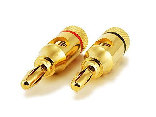 Monoprice 24k Gold Plated Speaker Banana Plugs, Open Screw Type (1 Pair)