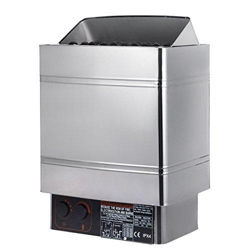 Guellin 400V Estufa Eléctrica para Sauna Calentador de Sauna 380-415V Sauna Stove con Controlador Externo sin Enchufe (9KW con controlador externo)
