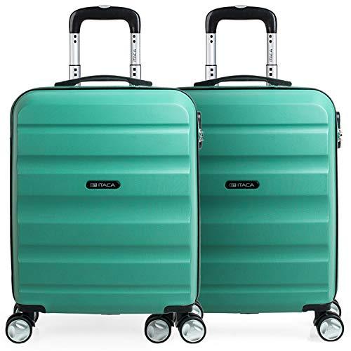 ITACA - 2 valigie da viaggio rigide 4 ruote 55x40x20 cm ABS. Bagaglio a mano. Resistente e leggero. Maniglia e maneggia Voli Low Cost Ryanair, Padlock. T71650P, Color Acquamarina/Acquamarina