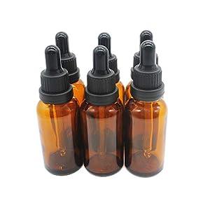 Yizhao Ambar Frasco Cuentagotas Cristal 30ml, Botellas Cuentagotas con [Pipeta Cuentagotas Cristal], para Aceite Esencial, Masaje,Fragancia, Aromaterapia, Laboratorio, E-Líquidos - 6Pcs