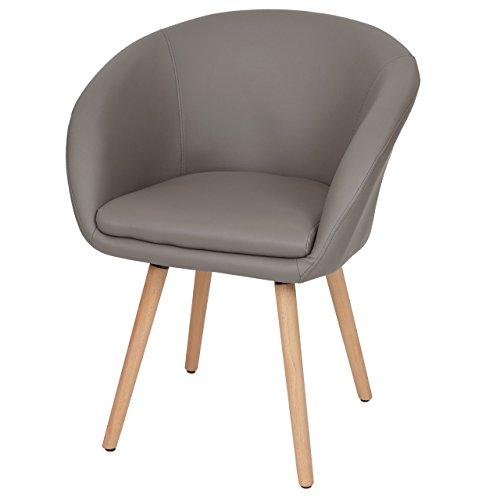Chaise de Salle à Manger Malmö T633, Fauteuil, Design rétro des années 50 - Similicuir, Taupe