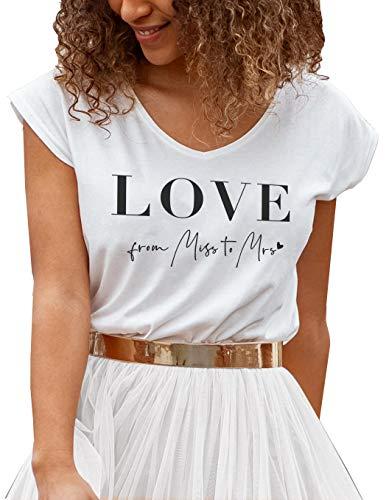 Constant Love® Damen Casual Shirt LOVE from Miss to Mrs Braut JGA Hochzeit (M, Weiß BRAUT)