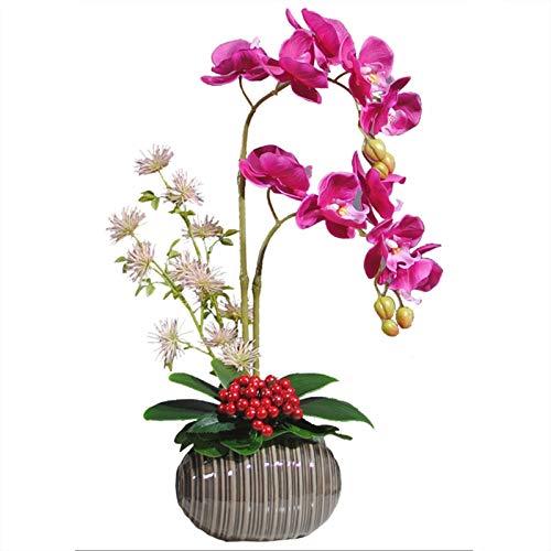 Arreglo Phalaenopsis Flor con el florero, arreglos Artificiales Flores de la orquídea Cerámica Tiesto for Ministerio del Interior de los Regalos Decor