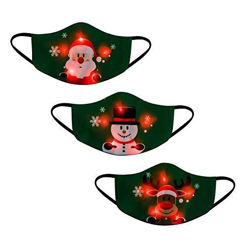 Zolimx 3 Stück Erwachsene Mund Und Nasenschutz Weihnachten LED Licht Mundschutz Lustig Motiv Waschbar 3D Druck Bandana Multifunktionstuch Mehrweg Atmungsaktiv Staubdicht Halstuch