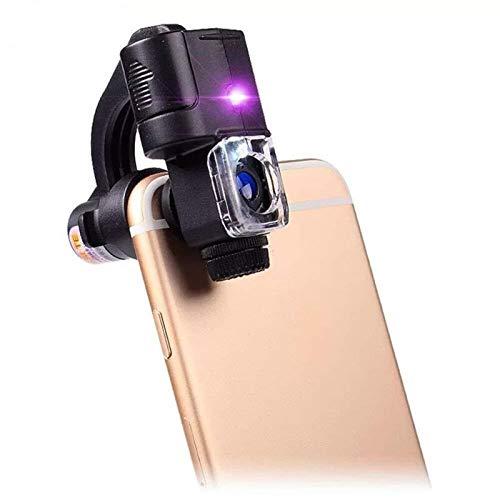 Vidrio con la luz del Clip del teléfono móvil Lupa del microscopio óptico de la Lente Micro HD 90X cámara del telescopio de la Lente con Las lámparas UV for el Detector de Dinero