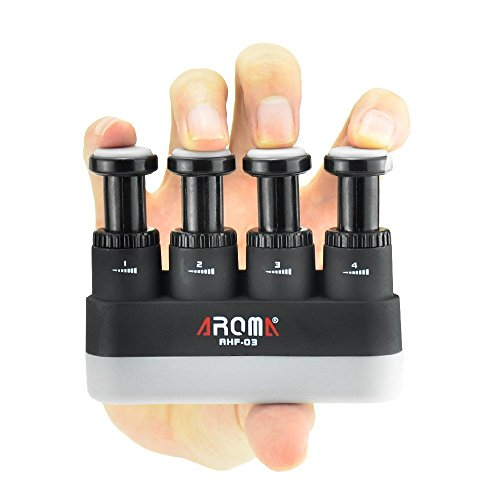 Fingertrainer, 4 Spannungen, verstellbarer Handgriff, ergonomischer Silikon-Trainer für Gitarre, Klavier, Trigger-Fingertraining, Arthritis-Therapie und Griffigkeit, Klettern (AHF-03)