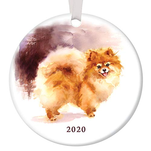 Pomeranian Christmas Ornament 2020 Pretty Watercolor Pom Breed Ceramic Keepsake Present for Dog Lover Adopted Family Pet Shelter Rescued Pooch 3' Flat Porcelain w White Ribbon & Free Gift Box OR00241