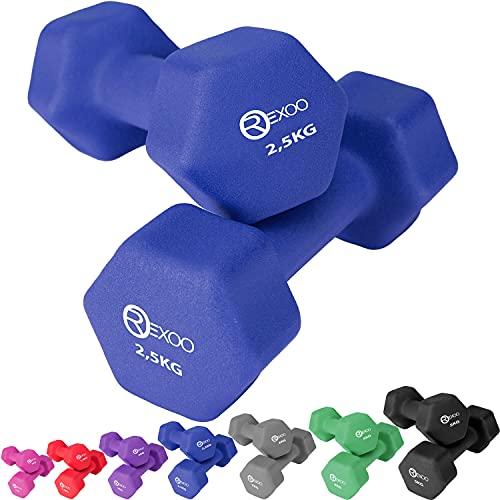 REXOO Neopren Kurzhanteln Hanteln, Gewichte 2er Set Hantelset Fitness Aerobic 2X 2,5 kg blau