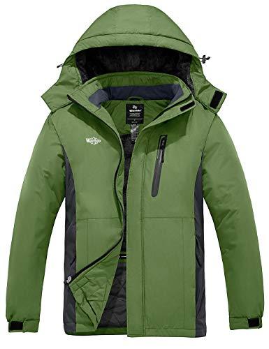 Wantdo Men's Waterproof Ski Coat Mountain Fleece Lined Winter Jackets Parka Grass Green M