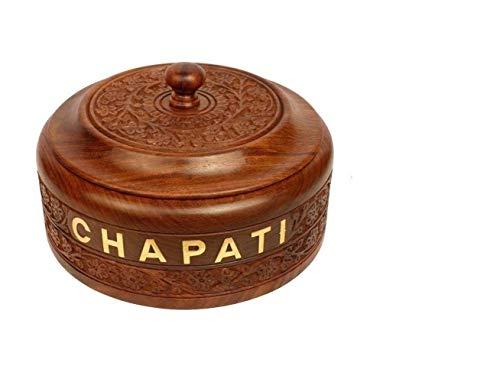 WILLART Hot Pot Auflaufform mit Deckel, Tortilla Brot Chapati Keeper/Wärmer graviertes Design für Küche Home Decor Ideal als Geschenk auf Diwali, IED und Weihnachten (Maße: 22,9 x 22,9 x 8,9 cm)