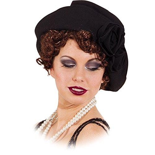 Amakando 20er Jahre Damenhut 30er Jahre Damenmütze schwarz Elegante Flapper Girl Mütze Charleston Hut Karnevalskostüme Accessoires Retro Mottoparty Faschingshut Blumen Kopfbedeckung Damen