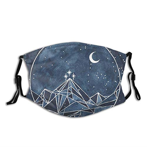 Anime Night Court Moon And Stars Galaxy Face Mask With 2 Pcs Filters, Washable Reusable Scarf Balaclava For Men Women &Teenage Black