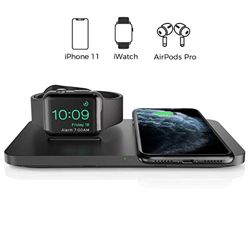 Seneo 2 in 1 Wireless Charger, Dual Wireless Charging Pad with Charging Stand for iWatch 5/4/3/2, 7.5W Qi Fast Charge for iPhone 11/11 Pro Max/XR/Xs/X/8/8P, AirPods Pro/2(No Adaptor or iWatch Cable)