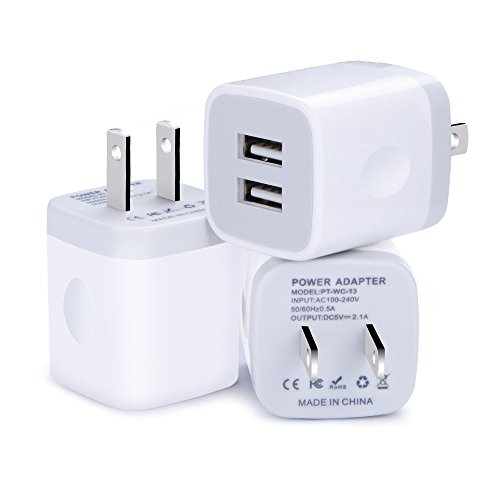 Wall Charger, Kakaly 3-Pack 2.1AMP Universal Power Home Travel Wall Charger Dual Port Plug for iPhone 7/6/6S Plus, Samsung Galaxy S8 S7 S6 Edge, HTC, LG, Huawei, Google Nexus, and Most Android Phones