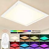 Aimosen RGB Dimmbar LED Deckenleuchte Panel 30x30 cm, Quadrat Unterputz Deckenlampe mit 8 Farbwechsel und 3000K WarmWeiß, Lampenpanel für Büro Kinderzimmer Schlafzimmer Innendekoration Beleuchtung