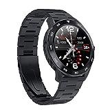 DT98 IP68 Waterproof Smart Watch 1.3 inch Full Round HD Touch Screen Bluetooth Call Tracker Heart Rate Blood Pressure Sleep Monitor Pedometer Multifunctional Sport Bracelet (Black+Steel Strap)