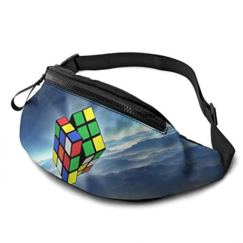 Gkf Waist Pack Bag for Men&Women, Magic Cube Moon Utility Hip Pack Bag with Adjustable Strap for Workout Traveling Casual Running