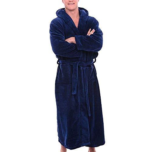 Adelina badjas voor heren, maten, kwaliteit zachte twee zakken en riem met modieuze Completi-lussen, eenkleurig, sauna jas, textiel, nachtkleding ochtendjas met capuchon