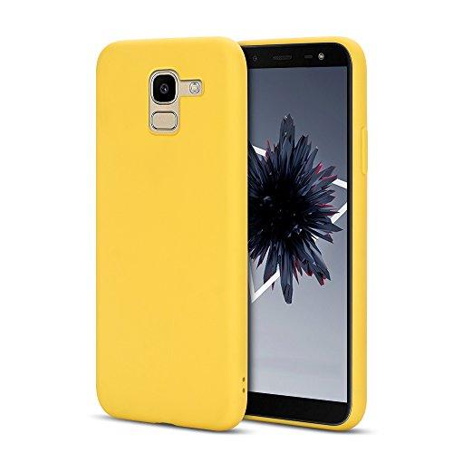 "Anfire Samsung Galaxy J6 2018 Hülle Silikon Einfarbig Handyhülle Ultra Dünn Glatt Protective Case Cover Soft TPU Rückschale Kratzfest Stoßfest Bumper Case für Samsung Galaxy J6 2018 (5.6""), Gelb"