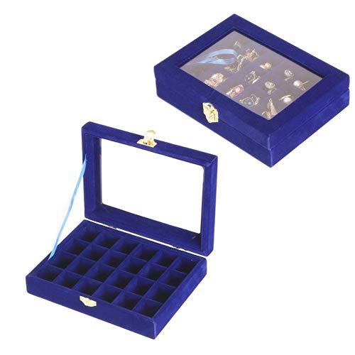 yunyu Caja de Anillo Almacenamiento de Pendientes Caja de joyería multifunción Tapa de Vidrio Caja de Anillo Bonitas Cajas de Almacenamiento Caja de Anillo para Compromiso Soporte de Pendiente Azul