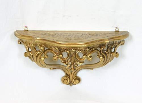 Consolle Mensola Ripiano Dorato Vintage Mobile Da Parete o Ingresso in Stile Barocco