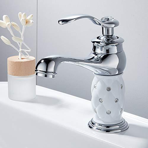 Waschtischarmatur Bad Modern Badarmatur Wasserhahn Bad Armatur Einhebel Mischbatterie Chrom Messing Armatur Waschbecken Waschtisch Armaturen Waschbeckenarmatur für Badezimme