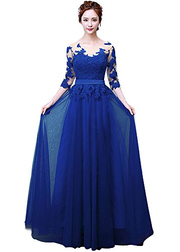 Minetom Vestido De Novia Cuello Redondo Mujer Encaje Hombro Longitud del Boda Larga Elegante Manga 3/4 Vintage Coctel Largo Dama De Honor Wedding Dress Azul ES 36