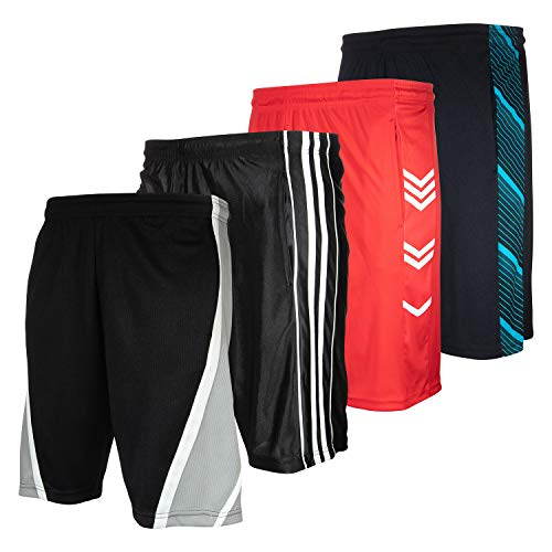High Energy Long Basketball Shorts for Men, 4 Pack, Sports, Fitness, and Exercise, Athletic Performance, Pack 213, 5X-Large