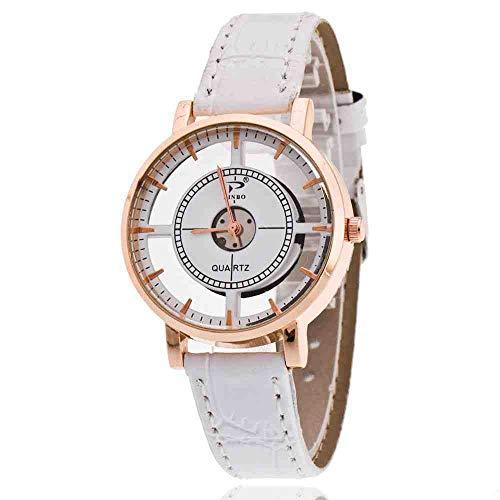DECTN Armbanduhr Kompass-Kreuz-Hohle Perspektiven-Mode-Uhr-Streifen-Nagel-Gurt-Frauenuhr-Weiß